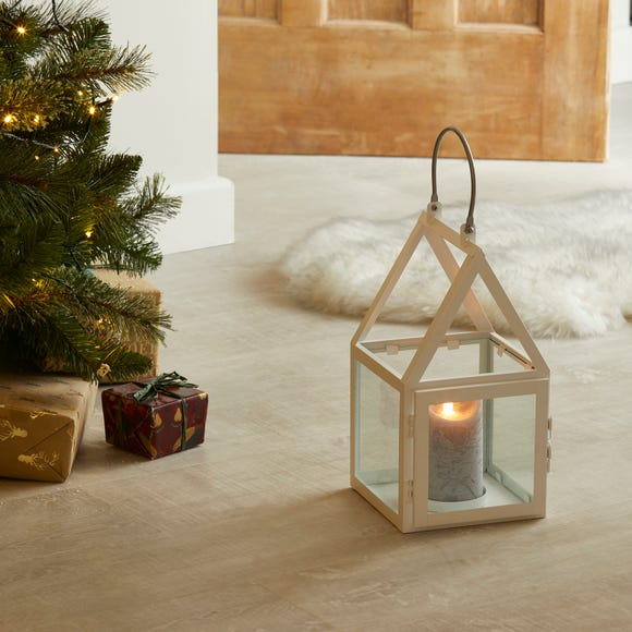 White House Lantern with Silver Handle Gold