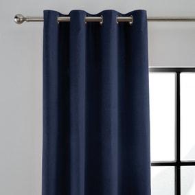 Peyton Indigo Blue Velvet Eyelet Curtains
