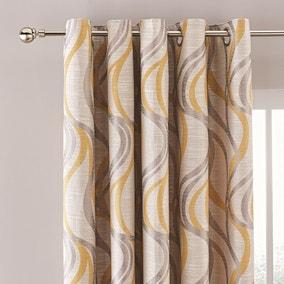 Mirage Ochre Jacquard Eyelet Curtains