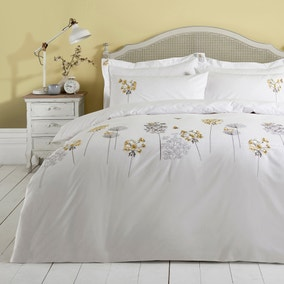 Hydrangea Floral Ochre Embroidered Duvet Cover and Pillowcase Set