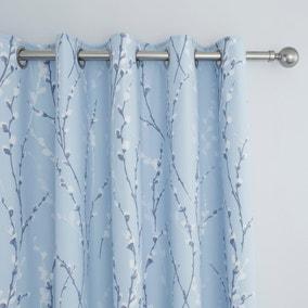 Belle Blue Blackout Eyelet Curtains