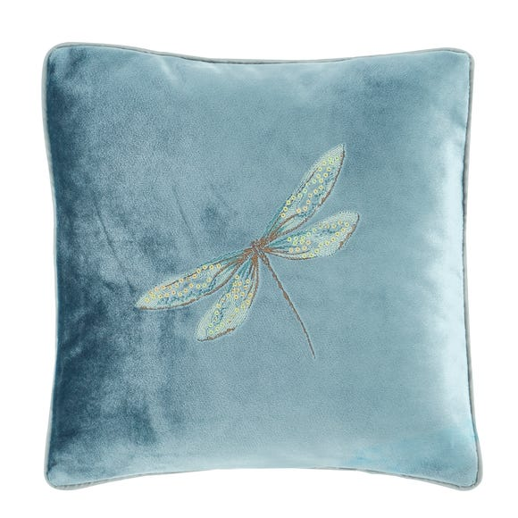Dragonflies Teal Embroidered Cushion Teal (Blue)