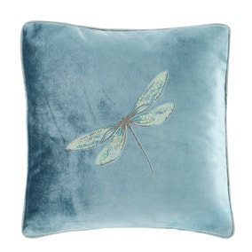 Dragonflies Teal Embroidered Cushion
