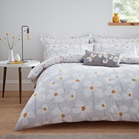 Elements Lena Reversible Grey Duvet Cover and Pillowcase Set