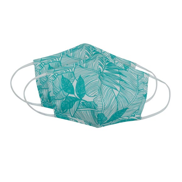 Pack of 2 Leaf Face Masks- Adult Medium Teal