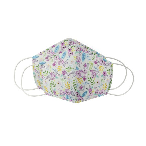 Pack of 2 Ditsy Floral Face Masks - Adult Medium MultiColoured
