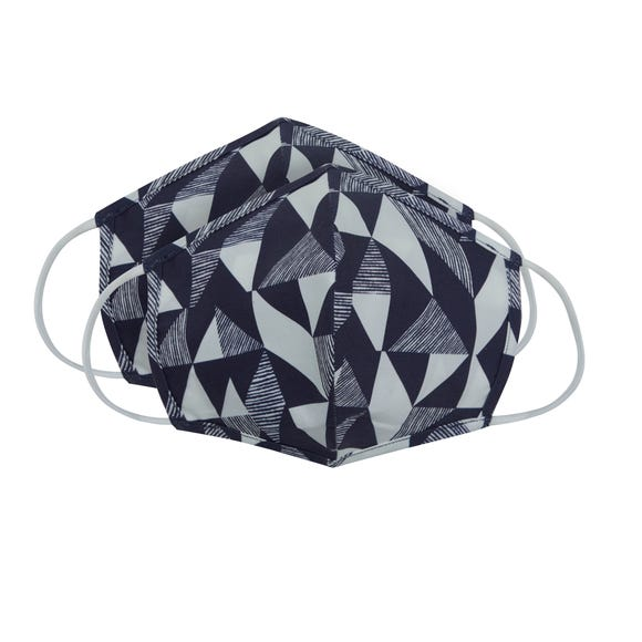Pack of 2 Navy & White Geometric Face Masks - Adult Large