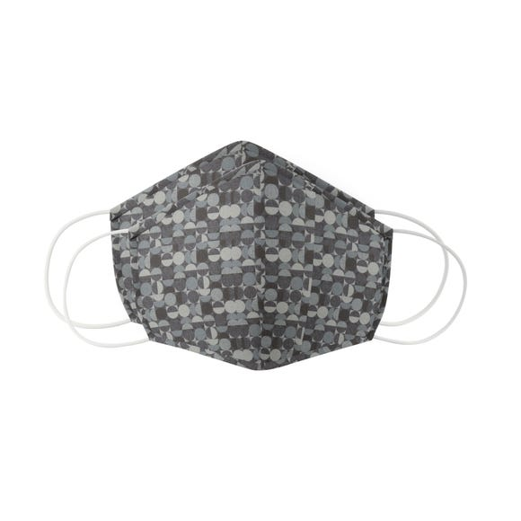 Pack of 2 Charcoal Geometric Face Masks - Adult Large