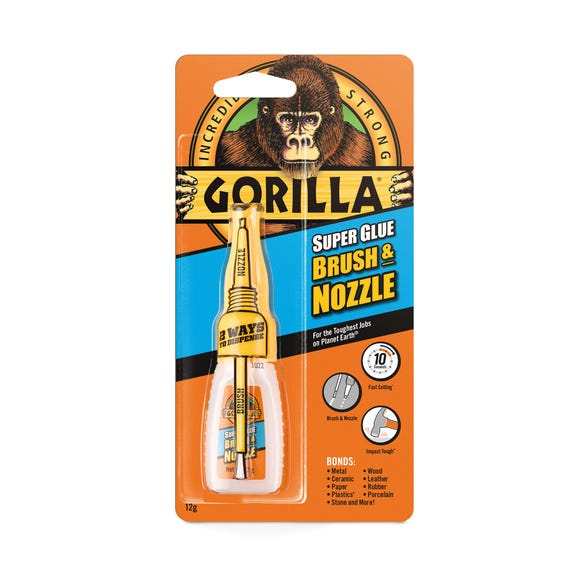 Gorilla Brush and Nozzle Super Glue Clear