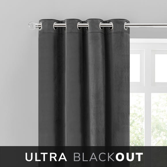 Isla Thermal Blackout Ultra Charcoal Eyelet Curtains  undefined