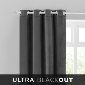 Isla Thermal Blackout Ultra Charcoal Eyelet Curtains