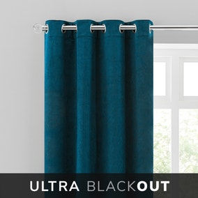 Isla Thermal Blackout Ultra Teal Eyelet Curtains