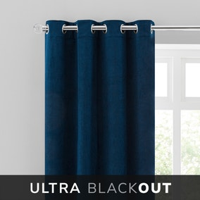 Isla Thermal Blackout Ultra Midnight Blue Eyelet Curtains