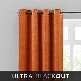 Isla Thermal Blackout Ultra Orange Eyelet Curtains