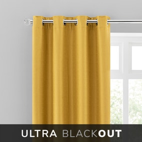 Montreal Thermal Blackout Ultra Ochre Eyelet Curtains