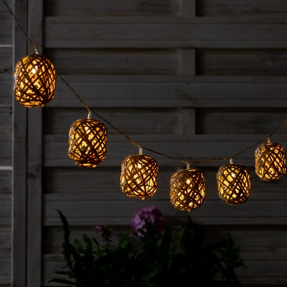 10 LED French Cane Outdoor Ball String Lights Natural