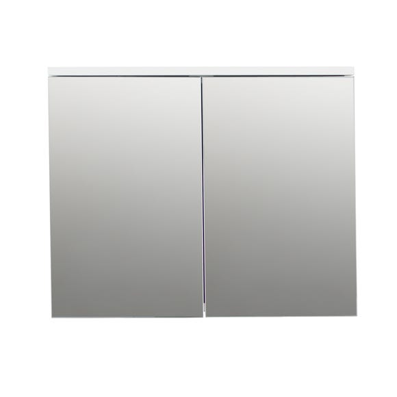 High Gloss Compact Double Mirror Cabinet White