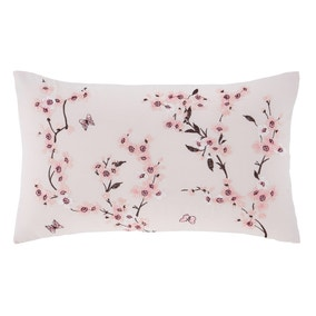 Catherine Lansfield Pink Embroidered Blossom Cushion