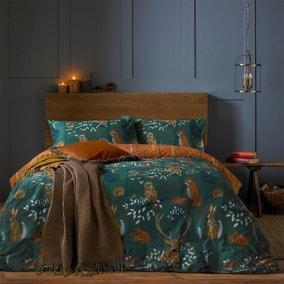 Furn. Riva Forest Fauna Emerald Duvet Cover and Pillowcase Set