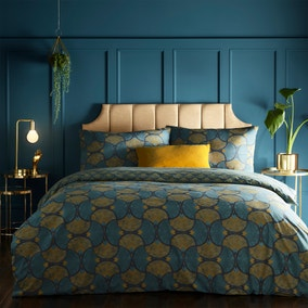 Riva Decora Teal Duvet Cover and Pillowcase Set