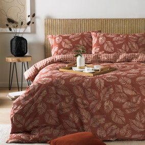 Riva Japandi Red Duvet Cover and Pillowcase Set