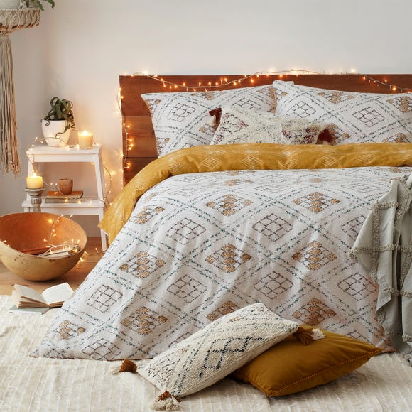 Furn. Riva Atlas Ochre 100% Brushed Cotton Duvet Cover and Pillowcase Set  undefined