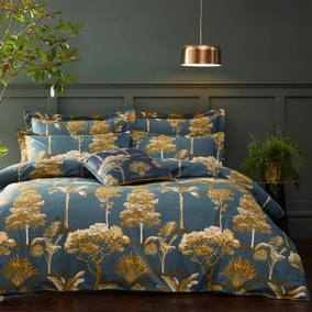Riva Arboretum Blue 100% Cotton Duvet Cover and Pillowcase Set