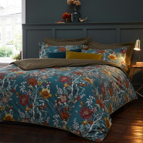 Paoletti Riva Bloom Teal 100% Cotton Duvet Cover and Pillowcase Set