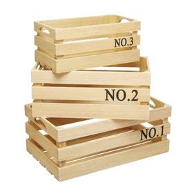 KitchenCraft Set of 3 Wooden Storage Crates