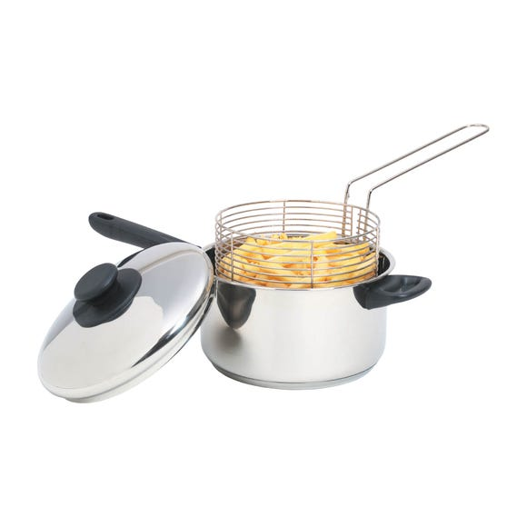 KitchenCraft Large Chip Fryer and Basket Silver