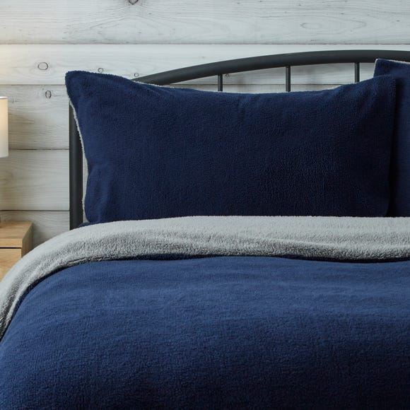 Teddy Reversible Housewife Pillowcase Pair Teddy Midnight Blue and Charcoal