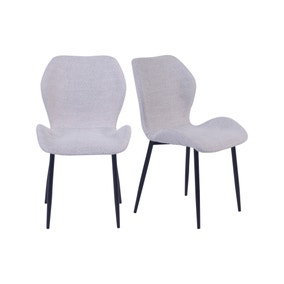 Aren Set of 2 Grey Boucle Dining Chairs
