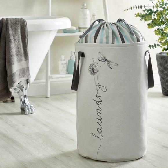 Dragon Fly White Draw String Laundry Bag  Mint