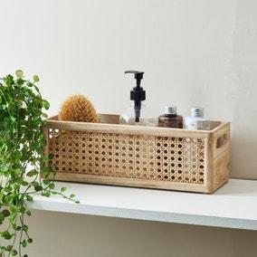 French Cane Natural Storage Basket