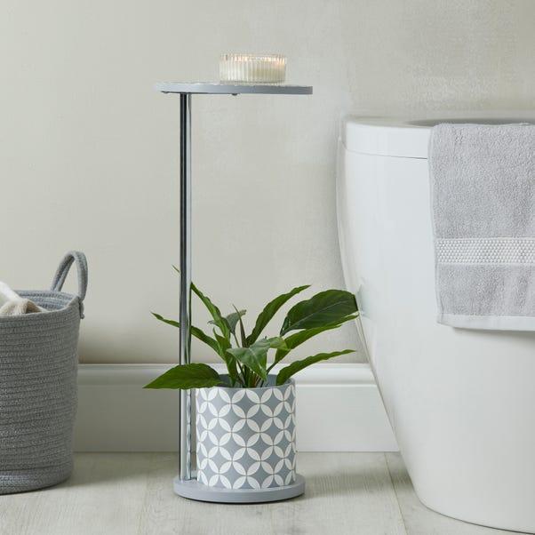 Geo Tile Grey Bath Side Table Light Grey