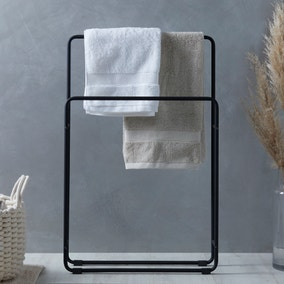 Elements Matt Black Free Standing Towel Rail