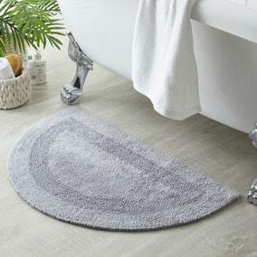 Supersoft Silver Semi Circle Bath Mat