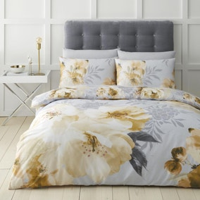 Catherine Lansfield Dramatic Floral Ochre Duvet Cover and Pillowcase Set