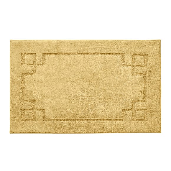 Luxury Cotton Non-Slip Ochre Bath Mat Ochre (Yellow)