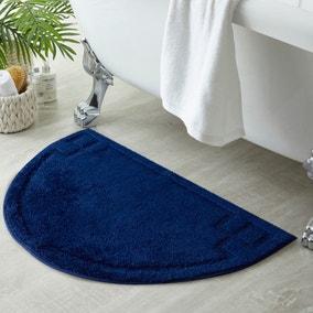 Luxury Cotton Semi Circle Navy Bath Mat