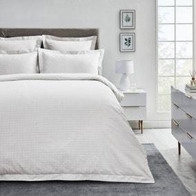 Dorma Purity Marlia White Cotton Jacquard Duvet Cover and Pillowcase Set