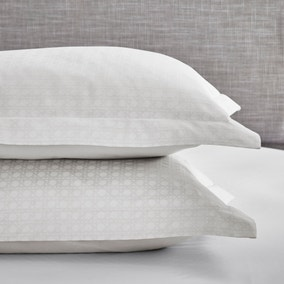 Dorma Purity Marlia White Cotton Jacquard Oxford Pillowcase Pair