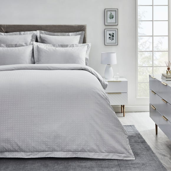 Dorma Purity Marlia Silver Cotton Jacquard Duvet Cover and Pillowcase Set  undefined