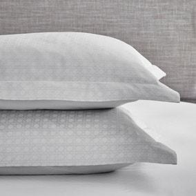Dorma Purity Marlia Silver Cotton Jacquard Oxford Pillowcase Pair