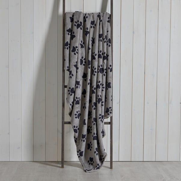 Paw Printed Fleece 130cm x 170cm Throw Charcoal (Grey)