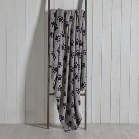Paw Printed Fleece 130cm x 170cm Throw