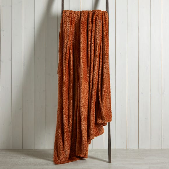 Amelia Fleece 200cm x 200cm Throw Orange