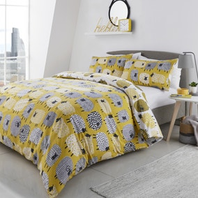 Fusion Dotty Sheep Yellow Duvet Cover and Pillowcase Set