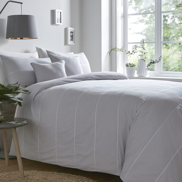 Appletree Salcombe Silver 100% Cotton Duvet Cover and Pillowcase Set Silver undefined