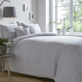 Appletree Salcombe Silver 100% Cotton Duvet Cover and Pillowcase Set